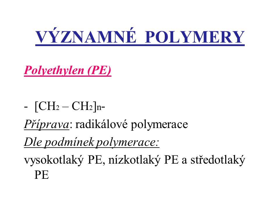 VÝZNAMNÉ POLYMERY Polyethylen (PE) [CH2 – CH2]n-